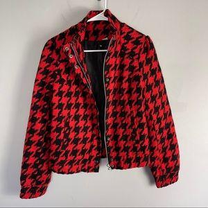 H&M wool blend houndstooth moto jacket red